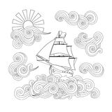 Contour image of ship on the wave, cloud, sun in zentangle inspired doodle style. Stock Image