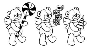 Contour image of teddy bears and other children toys. Royalty Free Stock Image