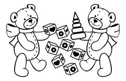 Contour image of teddy bears and other children toys. Stock Photo