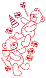 Contour image of teddy bears. Raster clip art. Royalty Free Stock Image