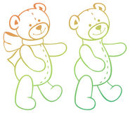 Contour image of teddy bears. Raster clip art. Stock Photo