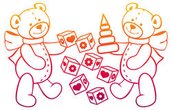 Contour image of teddy bears. Raster clip art. Royalty Free Stock Photo