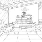 Contour intérieur de salon futuriste de cubisme illustration libre de droits