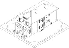 Contour of isometric house Stock Images