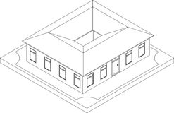 Contour of isometric house Royalty Free Stock Image
