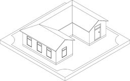 Contour of isometric house royalty free illustration