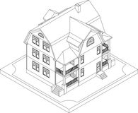 Contour of isometric house Stock Photography