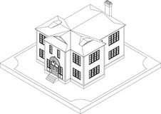 Contour of isometric house Royalty Free Stock Photo