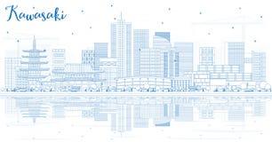 Contour Kawasaki Japan City Skyline avec les bâtiments bleus et le Refl illustration de vecteur