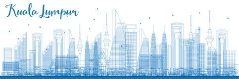 Contour Kuala Lumpur Skyline avec les bâtiments bleus Image libre de droits