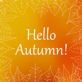 Contour leaves on autumn orange blurred background , postcard.  Royalty Free Stock Images