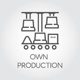 Contour linear icon symbolizing own production. Modern automatic technologies concept. Black pictograph graphic. Vector Royalty Free Stock Photo