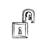 contour lock open icon Stock Photo