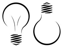 Contour logo of the incandescent lamp. The emergence of an idea or a new invention. Electricity and energy saving. Saving resource Stock Photos