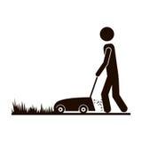 Contour man mowing icon. Image,  illustration Stock Photo