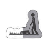 Contour man mowing icon. Image,  illustration Stock Photos