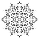 Contour mandala for color book. Monochrome illustration. Symmetrical pattern in a circle. A beautiful image for scrapbook. The te vector illustration
