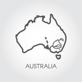 Contour map of Australia with lines of some rivers. Silhouette of country in outline style. Vector Stock Photo