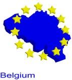 Contour map of Belgium. With yellow EU stars Stock Photo