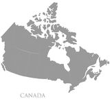 Contour map of Canada on white Royalty Free Stock Photos