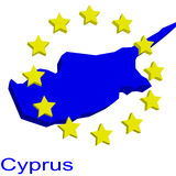 Contour map of Cyprus. With yellow EU stars Royalty Free Stock Image