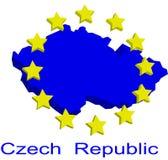 Contour map of Czech Republic. With yellow EU stars Royalty Free Stock Photo