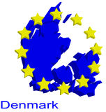 Contour map of Denmark. With yellow EU stars Stock Photography