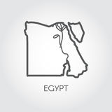 Contour map of Egypt with shape of some rivers. Simplicity icon in linear style Royalty Free Stock Photography