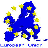 Contour map of European Union. With yellow EU stars Royalty Free Stock Photo