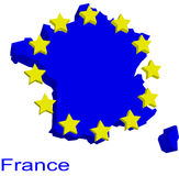 Contour map of France. With yellow EU stars Royalty Free Stock Images