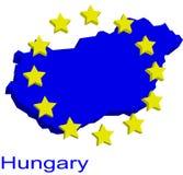 Contour map of Hungary. With EU stars Royalty Free Stock Photos