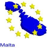 Contour map of Malta. With EU stars Royalty Free Stock Photos