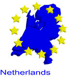 Contour map of Netherlands. With EU stars Stock Photography