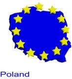 Contour map of Poland. With EU stars Stock Photo