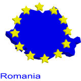 Contour map of Romania. With EU stars Stock Photos