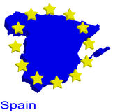 Contour map of Spain. With EU stars Royalty Free Stock Photos