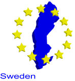 Contour map of Sweden. With EU stars Stock Images
