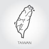Contour map Taiwan with shape of some rivers. Simplicity icon drawing in line style. Vector template of country Royalty Free Stock Image