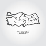 Contour map of Turkey country with shape of some rivers. Outline icon. Vector illustration Royalty Free Stock Photos