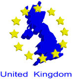Contour map of UK. With EU stars Royalty Free Stock Images