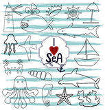 Contour marine icons and the inscription by hand I love the sea Royalty Free Stock Photo