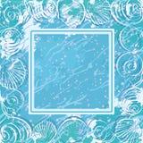 Contour marine seashells and frame Royalty Free Stock Photo