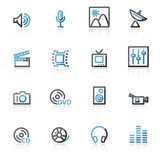Contour media web icons. Vector web icons, blue and gray contour series Royalty Free Stock Image