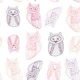 Contour mignon décoratif de pourpre d'Owl Sketch Doodle Pink Photos libres de droits