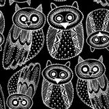 Contour mignon d'Owl Sketch Doodle White de dravn décoratif de main Illustration Stock