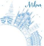 Contour Milan Skyline avec les points de repère et l'espace bleus de copie illustration libre de droits