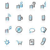 Contour mobile phone web icons Royalty Free Stock Photography