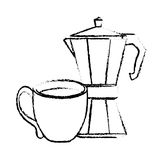 Contour moka pot with coffee cup Stock Photo