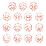 Contour monkey face expressions Royalty Free Stock Photos