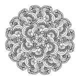 Contour, monochrome Mandala. ethnic, religious design element. Anti-paint for adults Stock Photo